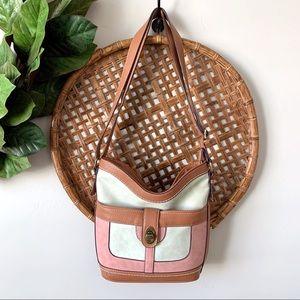 ( b.o.c ) Pink Cream Color Block Vegan Leather Bag